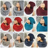 Женский вязаний набо шапка и шарф
