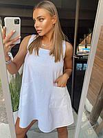 Короткий свободный льняной сарафан с карманами 18mpl1443, фото 1