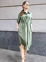 Хлопковое платье - рубашка миди с рукавом 3/4 и поясом 45mpl1445, фото 1