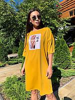 Спортивное платье свободного кроя с коротким рукавом и рисунком 63mpl1451, фото 1