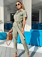 Повседневный комбинезон из штапеля с рубашечным верхом и коротким рукавом 22mko1006, фото 1