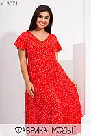 Платье летнее из штапеля в больших размерах с расклешенной юбкой и коротким рукавом 1mbr729, фото 1
