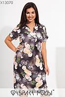 Прямое летнее платье в больших размерах в цветочный принт с коротким рукавом 1mbr730, фото 1