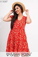 Літнє плаття у великих розмірах квітковий принт з розкльошеною спідницею 1mbr732