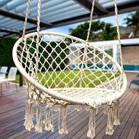 """Подвесное кресло гамак с подушкой подвесной """"Macrame"""", 820/680 Белый цвет"""
