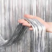 Штора для фотозоны серебро сатин занавес из фольги 1*2 м