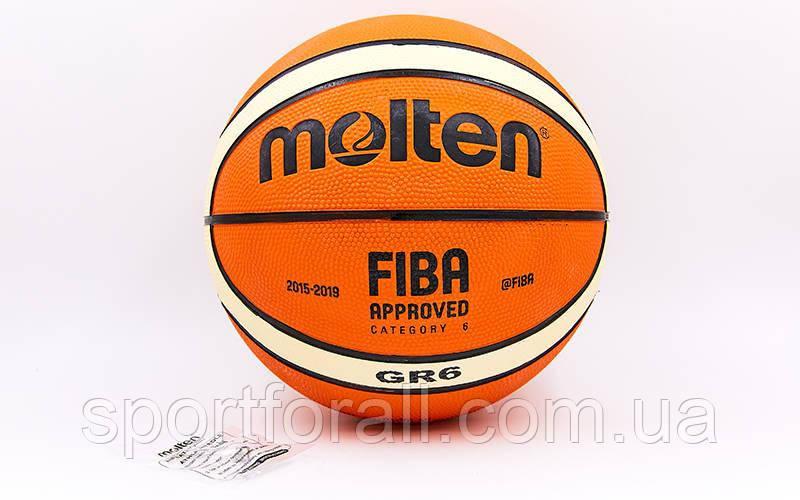 Мяч баскетбольный резиновый №6 MOLTEN BGR6-OI (резина, бутил, оранжевый)