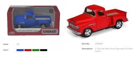 "Модель джип 5"" Chevy Stepside Pick-up (Matte Color) метал.инерц.откр.дв.кор.ш.к./96/"