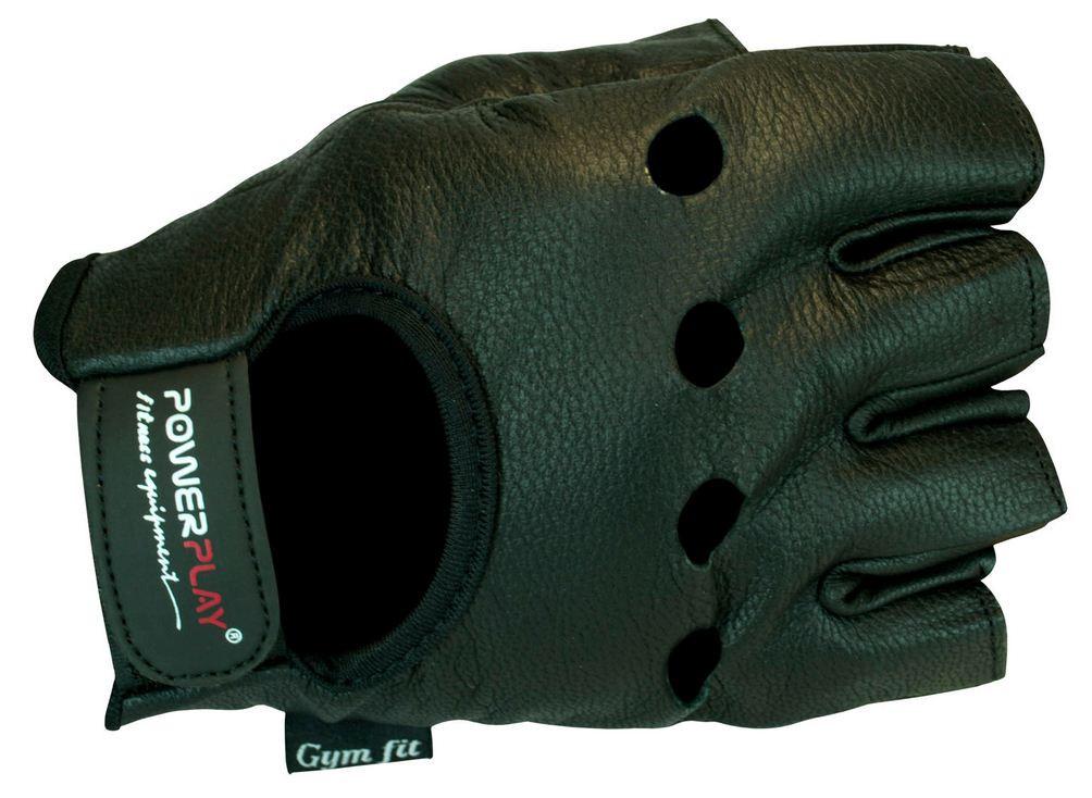 Перчатки без пальцев мужские кожаные для тренажерного зала Power Play черные
