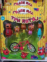 Ігровий набір «Три кота» 5 фігурок і велосипед PS651