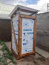 Туалет уличный дачный деревянный с поликарбонатом обработанный масло воском