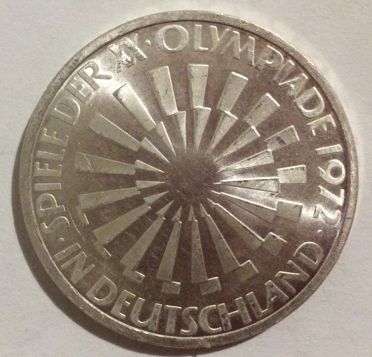 ФРГ 10 марок 1972 серебро 15.5 грамм Олимпиада Мюнхен №142
