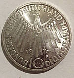 ФРГ 10 марок 1972 серебро 15.5 грамм Олимпиада Мюнхен №142, фото 2
