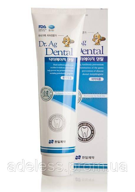 Зубная паста Dr.Ag Dental с серебром, мятой и бамбуковой солью, 200гр