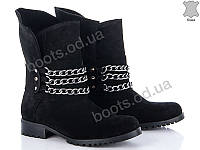 """Ботинки  женские """"G&M"""" #988 ЗАМША ny. р-р 36-41. Цвет черный. Оптом"""