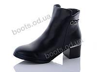 """Ботинки  женские """"Hongquan"""" #37-6. р-р 36-40. Цвет черный. Оптом"""