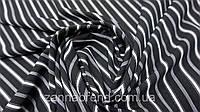 Ткань супер-софт черный в белую полосу, фото 1