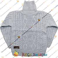 Вязаный серый свитер с горлом для мальчика от 5 до 9 лет (3800-1)