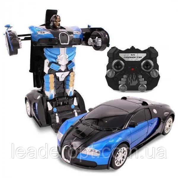 ОПТ Машинка Трансформер на радиоуправлении Bugatti Robot Car Size 18 СИНЯЯ