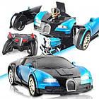 ОПТ Машинка Трансформер на радиоуправлении Bugatti Robot Car Size 18 СИНЯЯ, фото 3