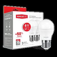 Набор LED ламп MAXUS G45 6W теплый свет E27 (2-LED-541-01)