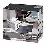 Двуспальная надувная кровать Intex 64906 (152 x 203 x 46 см) PremAire Airbed + Встроенный электронасос 220В, фото 3