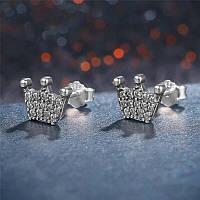 """Серебряные серьги 925 пробы с кристаллами циркония """"The Crown"""", фото 1"""