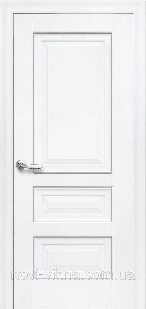 Дверь межкомнатная Статус с молдингом 900 мм, белый матовый.