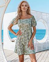 Женское платье в цветочный принт Фисташковый