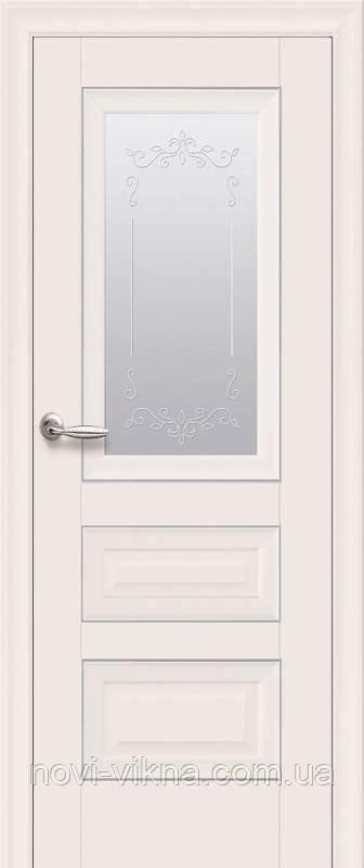 Дверь межкомнатная Статус со стеклом сатин и молдингом 600 мм, магнолия.