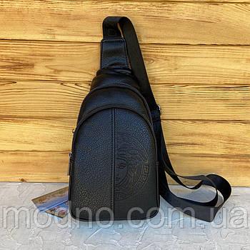 Мужская удобная нагрудная сумка слинг через плечо чёрная