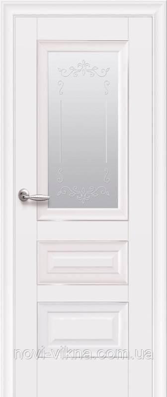 Дверь межкомнатная Статус со стеклом сатин и молдингом 700 мм, белый матовый.