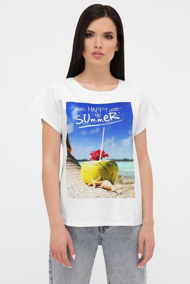 Женская белая футболка с удлиненным плечом летний принт