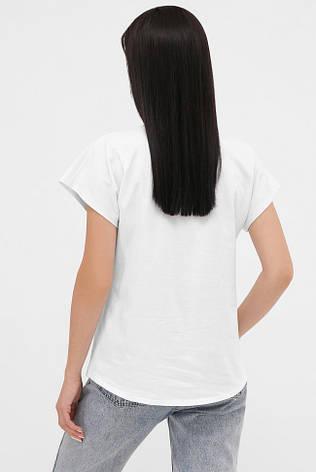 Женская белая футболка с удлиненным плечом летний принт, фото 2