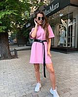 Модное летнее платье-футболка под пояс, фото 1