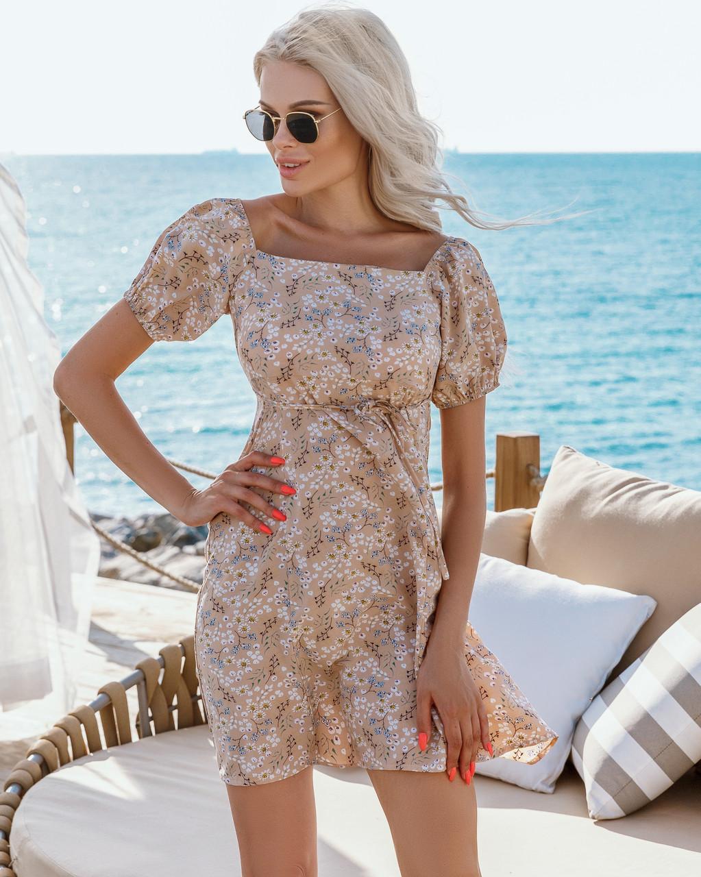 Женское платье в цветочный принт Бежевый