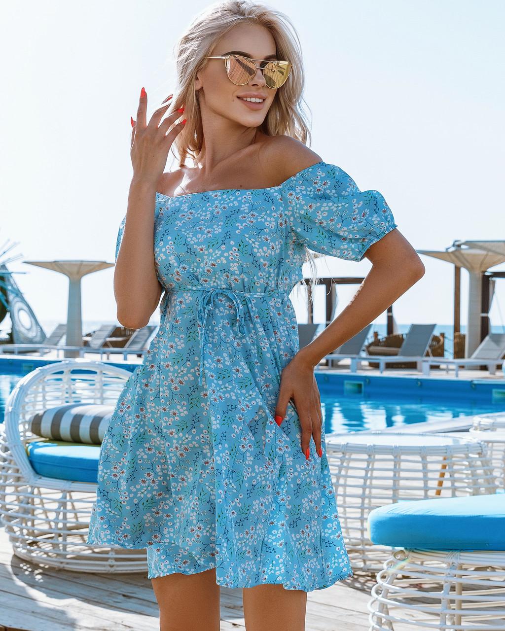 Женское платье в цветочный принт Голубой