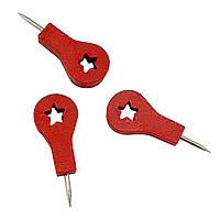 Шпильки красные деревянные звезда 40 шт  27мм