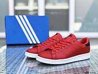 """Женские кроссовки красные с белым в стиле """"Adidas Stan Smith"""""""