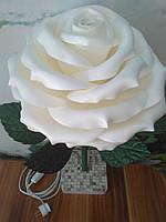 Светильник - ночник роза белая на подставке. Ростовые цветы из изолона.