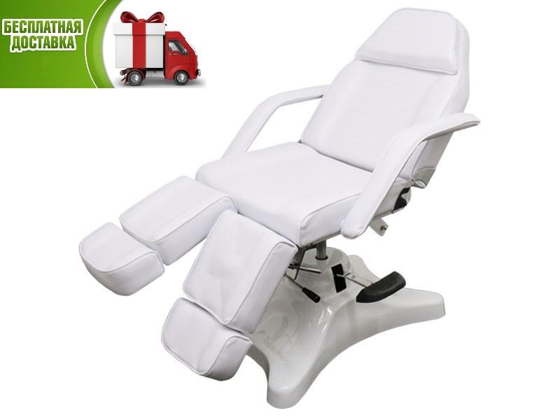 Педикюрное Кресло Кушетка косметологическая на гидравлике для педикюра для подолога стационарная 234D белая