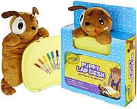 Доска для рисования Crayola Щенок с фломастерами Travel Lap Desk with Storage, Dog Plush & Markers