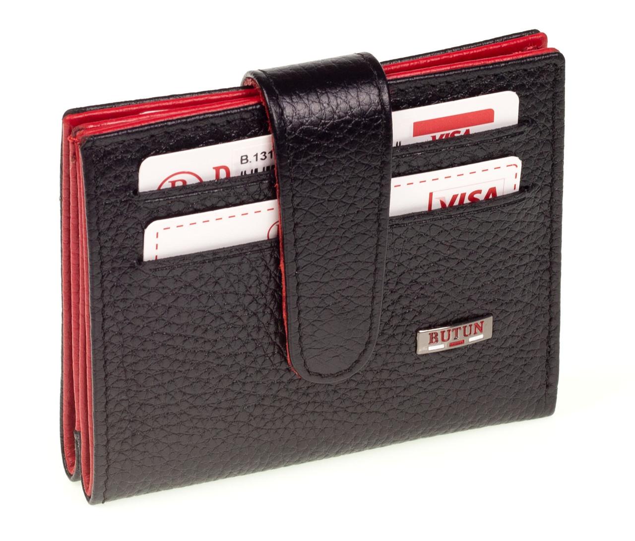 Кожаный картхолдер с отделением для купюр BUTUN 131-004-039 черный