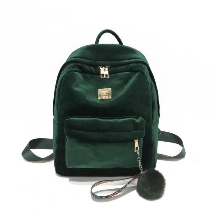 Женский велюровый рюкзак + брелок