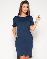 Темно-синее асимметричное платье из двухнитного трикотажа свободного кроя и короткими рукавами XL