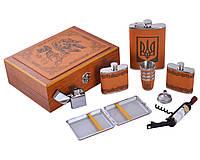 Большой подарочный набор с флягой Украина в деревянной коробочке, фото 1