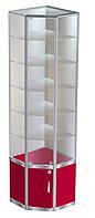 Торговая угловая витрина №4 в каркасе алюминиевого профиля