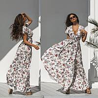 Женское летнее длинное платье на запах.Размеры:42/44,44/46.+Цвета