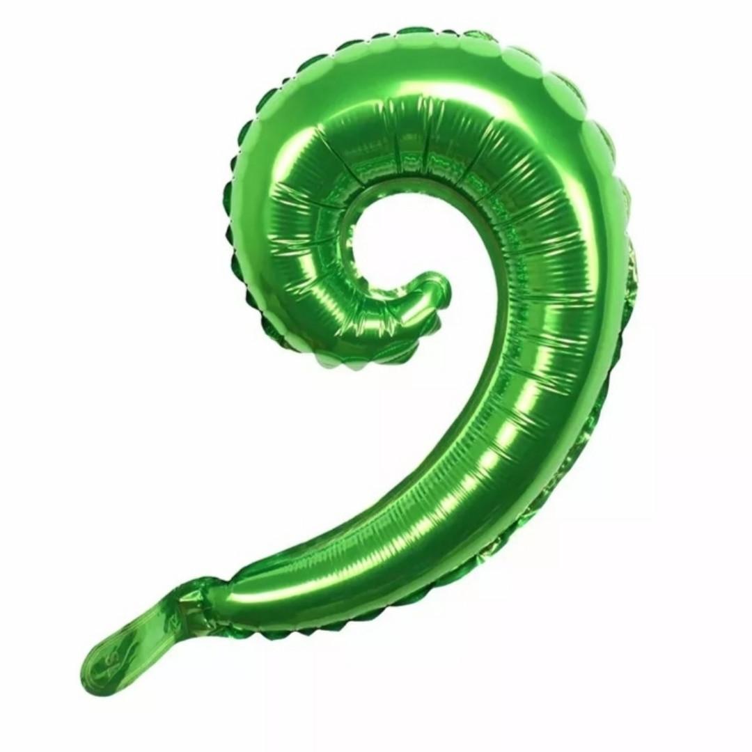Фольгированный шар вензель завиток зелёный 38*25 см