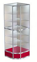 Торговая угловая витрина №7 в каркасе алюминиевого профиля